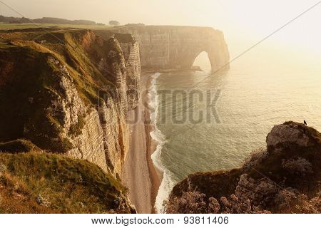 Etretat Aval Cliff, Rocks, And Natural Arch In Normandy, France