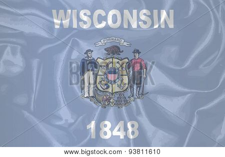Wisconsin State Silk Flag