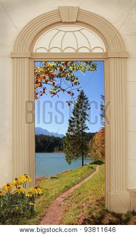 View Through Arched Door, Autumnal Hiking Trail