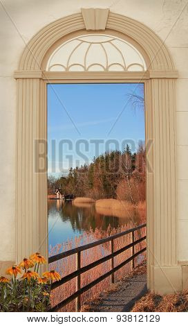 View Through Arched Door, Autumnal Lake Shore