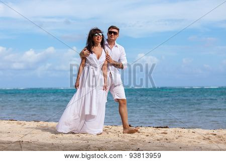 Beach Couple Walking On Romantic Travel.