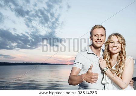 Lovely couple and beautiful sunset