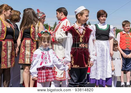 Line Of People In Russian National Dress