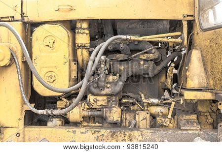 Closeup Detail Of A Digger's Engine Compartment
