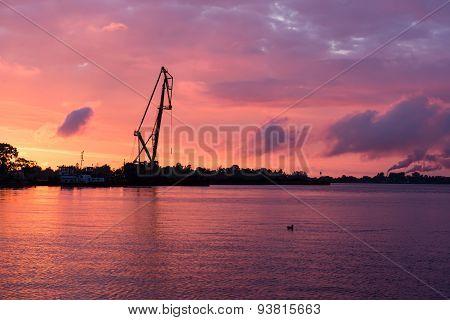 Reddish Sunset Over Port