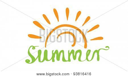 Hand-written word SUMMER, lettering logo. Vector illustration