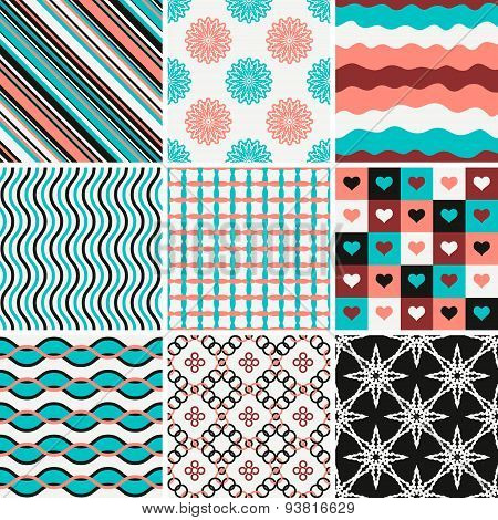 Set of abstract patterns  in white, blue, black and pink colors.