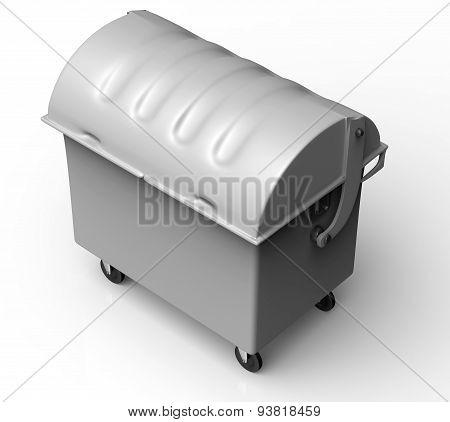 Grey Garbage Container Isolated On White Background