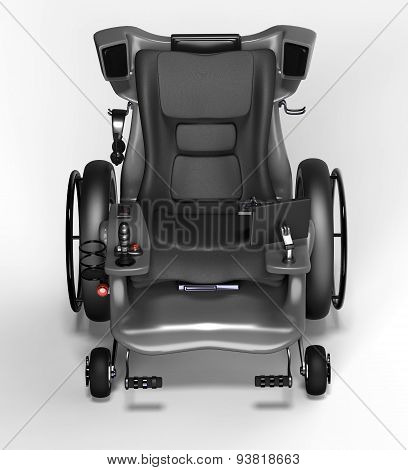 High Tech Electric Wheelchair Isolated On A White Background