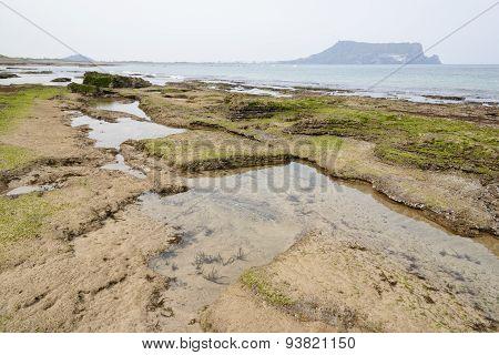 Landscape Of Gwangchigi Beach With Seongsan Ilchulbong.