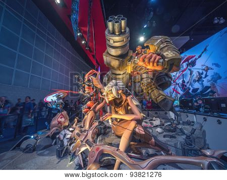 LOS ANGELES - June 17: Battleborn game characters sculpture group at E3 2015 expo. Electronic Entertainment Expo, commonly known as E3, is an annual trade fair for the video game industry