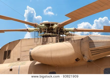 Hatzerim, Israel - April 27, 2015: Israeli Air Force Sikorsky Ch-53 Transport Helicopter On Display