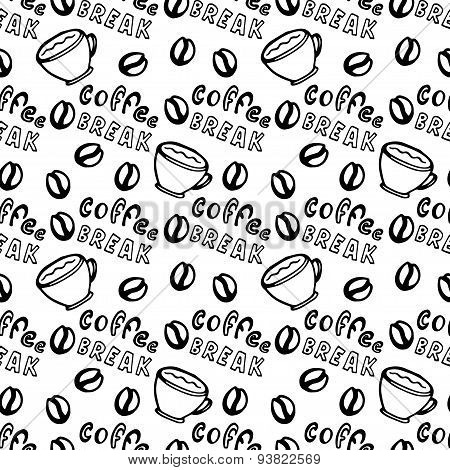 Seamless coffee pattern with coffee grains, cups and lettering - Coffee break. Pattern can be used f
