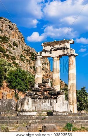 Ancient temple dedicated to Athena near Mount Parnassus Delphi Greece