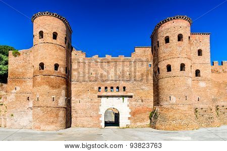Rome Italy. Porta Asinaria is a gate in the Aurelian Walls of Rome ancient landmark from Roman Empire stone walled largest city of the world.