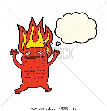 cartoon flaming demon imp