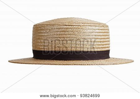 Straw Hat In Retro Style On A White Background