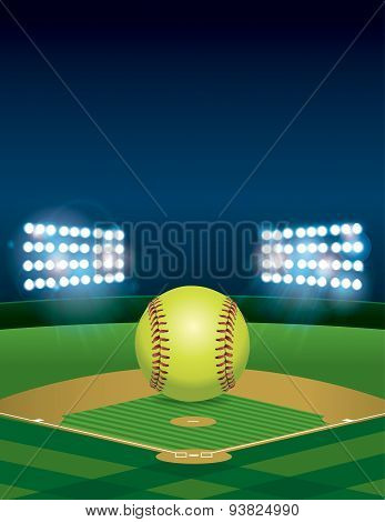 Softball On Softball Field Illustration