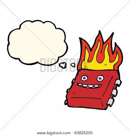 cartoon burning microchip