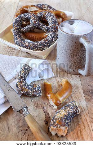 Alsatian Bretzels And Mug Of Beer