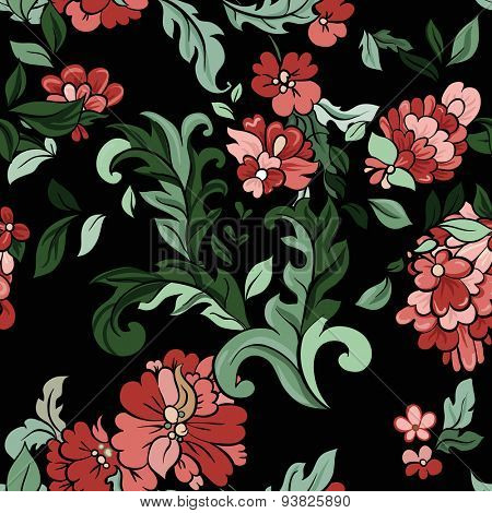Beautiful  floral seamless pattern on black baclground. Vector.