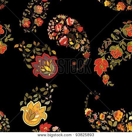 Oriental  paisley seamless pattern with black background.  Floral background.