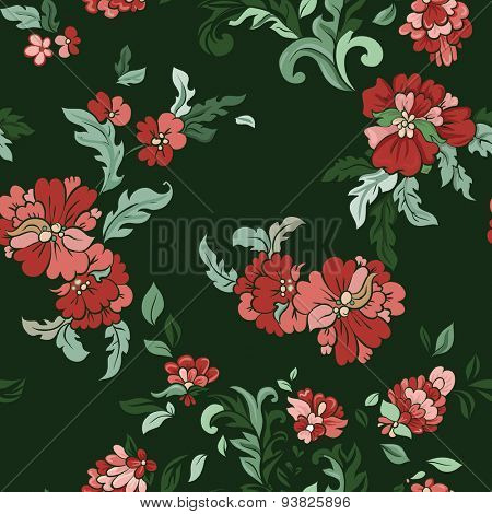 Beautiful  floral seamless pattern on green. Vector background.