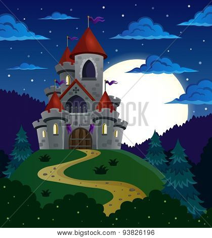 Night scene with fairy tale castle - eps10 vector illustration.