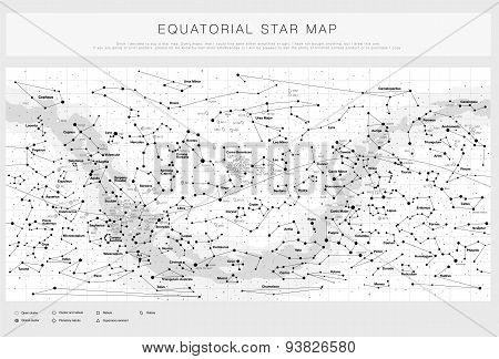High detailed star map with names of stars, contellations and Messier objects, black and white vecto