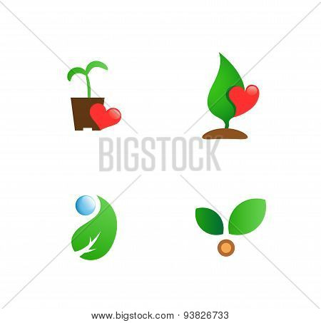 gardening flat vector symbols for branding
