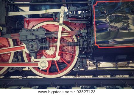 Wheel Closeup Of Old Locomotive On Railroad