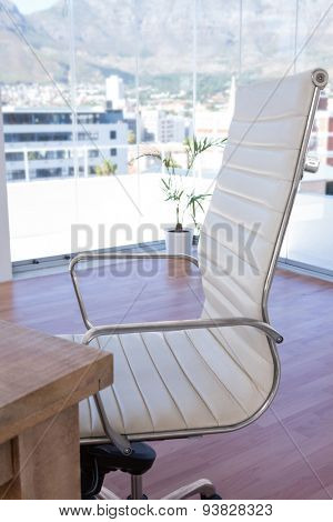 Close up of swivel chair in an office
