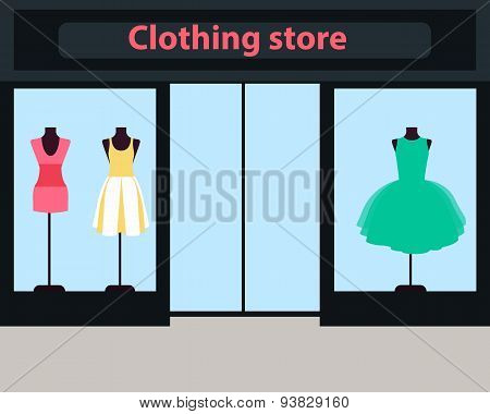 Showcase women clothing store. Dresses on mannequins. Vector illustration