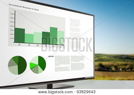 Business interface with graphs and data against scenic landscape