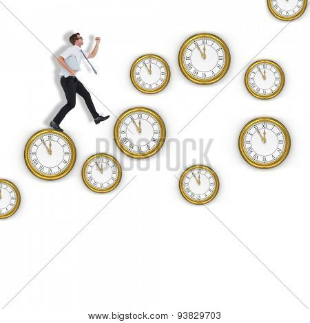 Geeky businessman running late against clocks