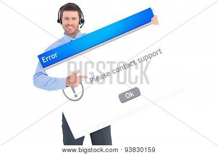 Businessman showing card wearing headset against error message