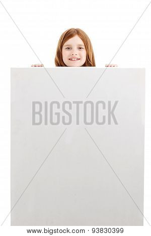 Nice little girl hiding behind white box.