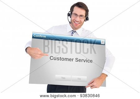 Happy businessman showing card to camera against confirm box