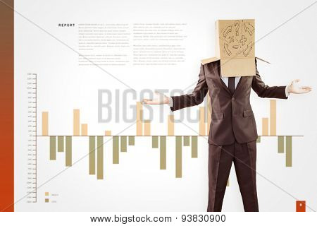 Anonymous businessman with hands out against business interface with graphs and data