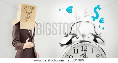 Anonymous businessman offering his hand against time is money in blue