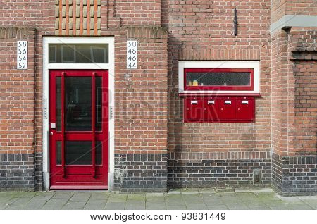 Door And Mailbox Outside Apartment Building In Amsterdam