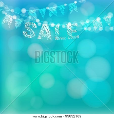 Summer Sale Poster With Garland Of Flags And Lights, Vector