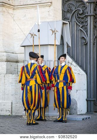 Changing of guard famous Swiss Guard in Vatican
