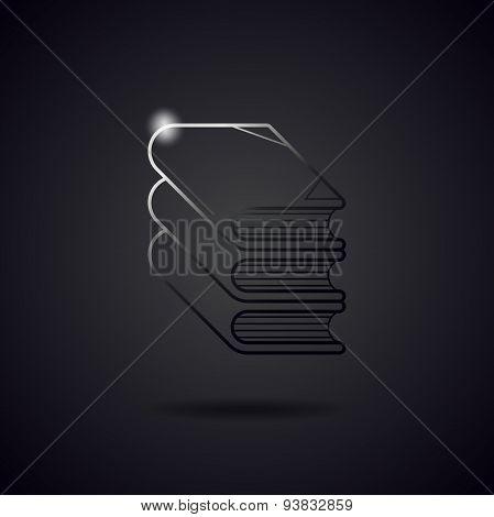 Book Black Metal Line Icon