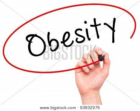 Man Hand writing Obesity with black marker on visual screen.