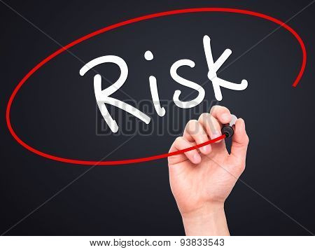 Man Hand writing Risk with black marker on visual screen.