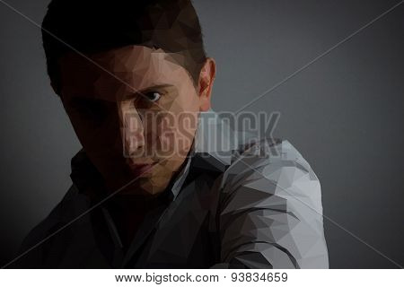 portrait of a polygon serious businessman in front of grey background