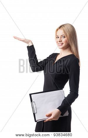 Young businesswoman offers something