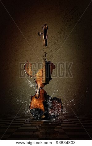 Shattered Violin in Water