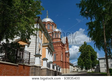 View Towards Nicholas Cathedral Of Intercession Khotkovo Monastery, Moscow Region.